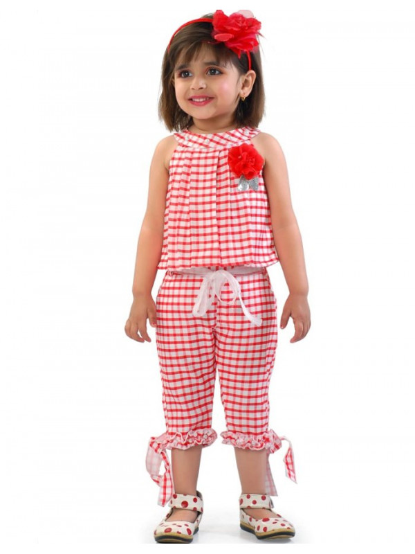 Red And White Checked Palazzo Suit