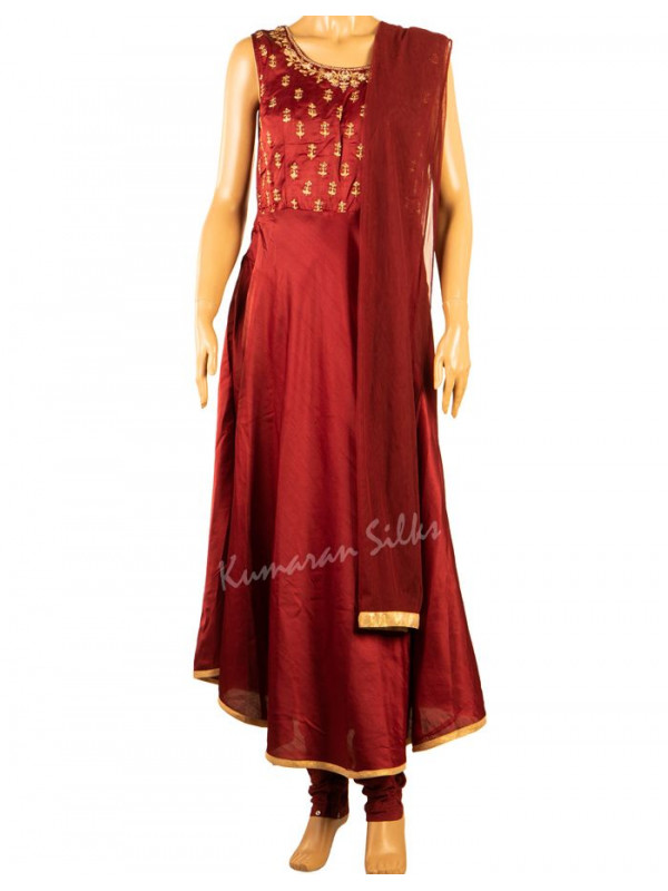 Raw Silk Maroon Stitched Suit 03