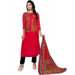 Chanderi Cotton Printed Red Dress Material