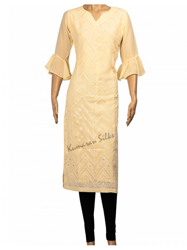 Faux Georgette Embroidered Pale Yellow Kurti