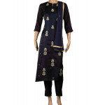 Semi Crepe Embroidered Navy Blue Salwar Suit With Dupatta