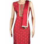 Semi Raw Silk Embroidered Red Salwar Suit With Dupatta
