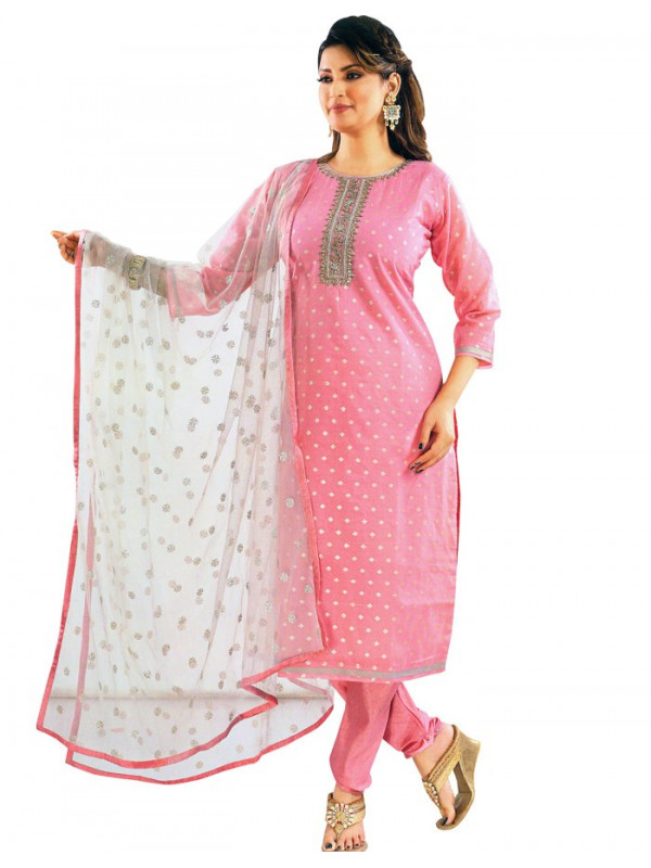 Silk Cotton Embroidered Baby Pink Salwar Suit With Dupatta 01