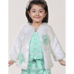 Sea Green Palazzo Suit With Fur Jacket
