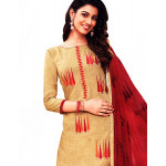 Cotton Embroidered Cream Dress Material 06