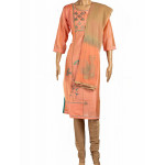 Cotton Embroidered Peach Salwar Suit With Dupatta 02
