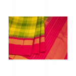 Green And Yellow Checked Silk Saree With Dark Pink Temple Border