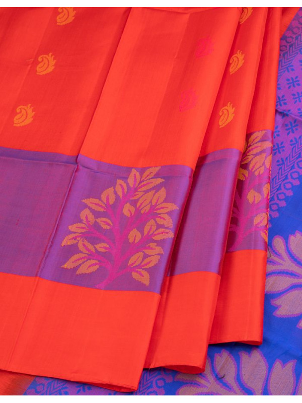 Red Soft Silk Saree With Violet Border