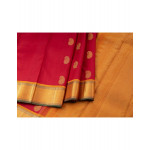 Red Silk Saree With Mango And Peacock Buttas On Body And Traditional Zari Border