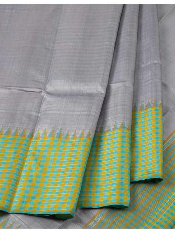 Grey Silk Saree With Blue And Mustard Checked Temple Border