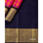 Pink And Mustard Checked Silk Saree With Navy Blue Temple Styled Zari Border