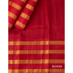 Green Checked Silk Saree With Red Temple Styled Striped Zari Border