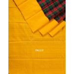 Black Red And Green Checked Silk Saree With Yellow Border