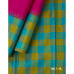 Dark Pink Silk Saree With Blue And Green Checked Temple Border