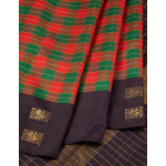 Red And Green Checked Silk Saree With Black Border