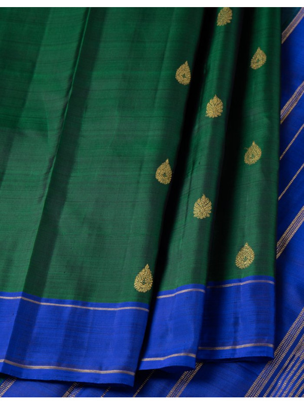 Dark Green Silk Saree With Zari Buttas And Dark Blue Silk Border