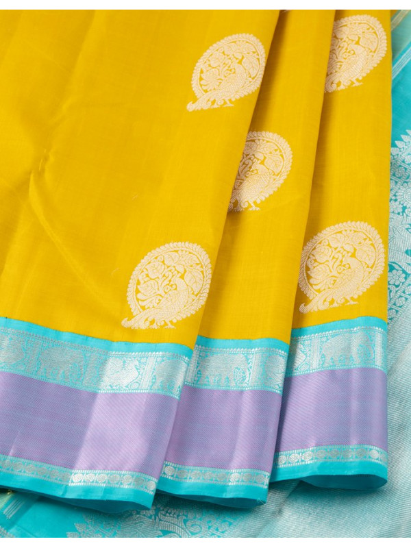 Yellow Silk Saree With Blue And Purple Border