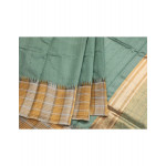 Blue raw silk saree with gold and silver tissue border
