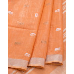 Peach Linen With Embroidery Saree