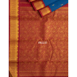 Dark Blue Silk Saree With Tiny Buttis And Red Border