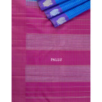 Blue And Purple Checked Silk Saree With Purple Border
