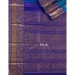 Blue Thread Worked Silk Saree With Violet Traditional Zari Border
