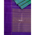 Blue And Green Checked Silk Saree With Striped Border