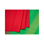 Red Checked Silk Saree With Sea Green Pallu