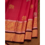 Pink Silk Saree With Elephant Motifs And Grand Border