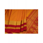 Warm Yellow Silk Saree With Checked Body Pattern Featuring Swan And Chakra Designs