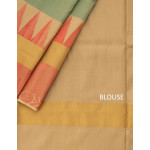 Sky Blue Soft Silk Saree With Pastel Pink And Beige Border