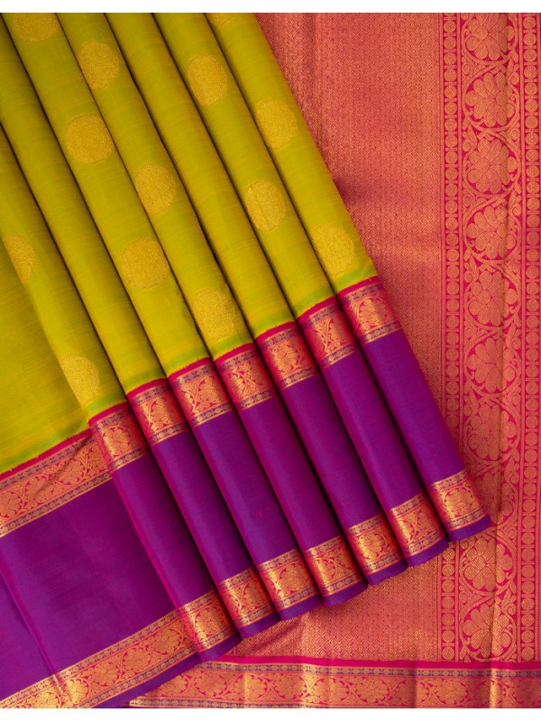 Green Silk Saree With Round Butta On Body And Purple Long Border
