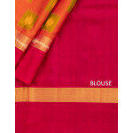 Rust Shaded Soft Silk Saree With Ikat Pattern